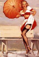 Parapluie Pin Up Girl Motif 1 Panneau Métallique Plaque Voûté Étain Signer