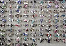 Wholesale Mixed Lots 10pcs Colorful Cute Rhinestone Lady's Fashion Rings