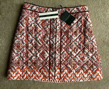 TOPSHOP LIMITED RED TILE PRINT QUILTED SKIRT UK 10 BNWT