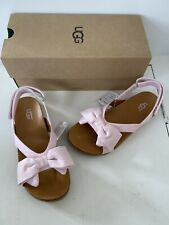 Ugg Girls Pink K Fonda Bow Sandals Size 1 Youth New