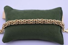 Italian Diamond Cut Byzantine Bracelet 14K Yellow Gold Over Silver 925