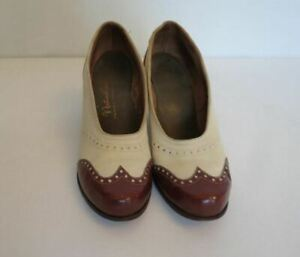 1940s Two Tone Cream & Brown Suede Heels - Vintage Shoes - Size 4 1/2