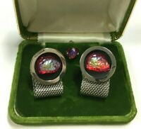 RARE Vintage Red Pink Volcano Stone Mesh Wrap Silver Cuff Links Tie SET NN124k