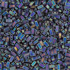 Miyuki Tila Seme Perline metà matte black AB (5mm) venduto in tubo 7.8g (K92/6)