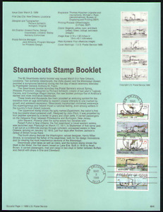 US. SP846. 2405-9. 25c. Steamboats Booklet Pane of 5. Souvenir Pages.1989