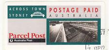 Stamp Australia ACROSS TOWN Sydney parcel post peel & stick pre-paid label, cto