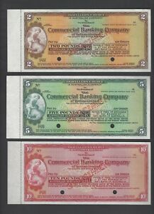 Australia , New Zealand Bank Limited 2-5-10 Pounds ND Specimen Cheques