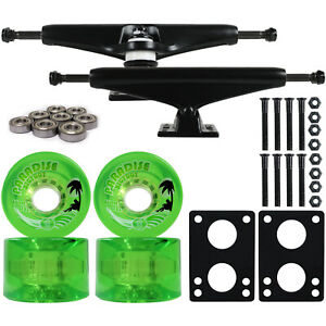 LONGBOARD Trucks/Wheels/Bearings BLACK 6.0 + BIGFOOT 65MM ISLANDERS GREEN