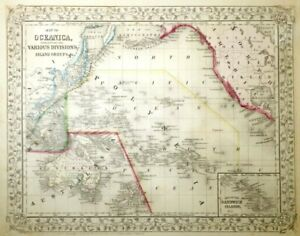 MID-19TH C ANTIQUE 1866 MAP OCEANICA ISLAND GROUPS/ASIA BY AUGUSTUS MITCHELL JR.
