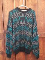 80s 90s McGregor Sweater Jumper XL Bright Geometric Print Cosby Biggie Vintage
