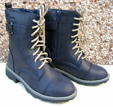 Girls Faux Leather BOOTS Zip Warm Fur Winter Half Calf Short Black School Shoes UK 13 Kids/ 32 EU Navy