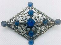 Blue Rhinestone Filigree Brooch Ornate Silver Gilt Art Deco Vintage Jewelry