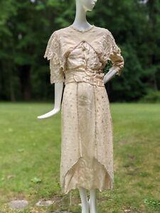 EDWARDIAN TEENS EMBROIDERED NET SUMMER WEDDING DRESS W BEADING