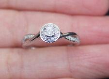New S7 10K Diamond Promise Love Forever Engraved Halo Engagement Ring WhiteGold