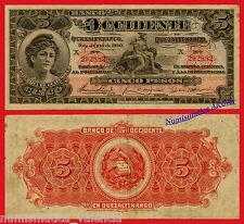 GUATEMALA BANQUE DE L'OUEST 5 Pesos 1920 Série S177 - F VF