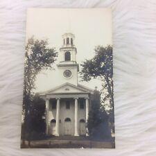 Vintage Black White Postcard Unknown Building Tower Clock Dupont Defender RPPC