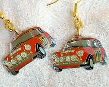 CLASSIC BMC MINI COOPER S MONTE CARLO RALLY CAR EARRINGS ON GOLD PLATED WIRES
