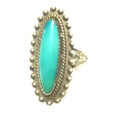 Marquise Turquoise Elongated Ring Vintage Signed Mexican Sterling Silver