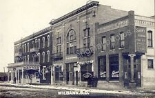 MILLBANK SOUTH DAKOTA BENTLEY BLOCK LAMOND'S BAR circa 1909 RPPC Photo Postcard