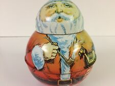1980 Cheinco Santa Smoking Pipe carrying presents Retro Christmas Tin