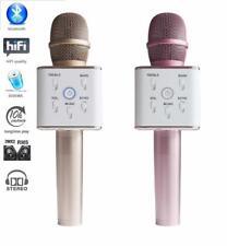 Q7 Wireless Bluetooth Karaoke Mic-Microphone with Speaker + Condenser -Rose Gold
