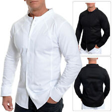 Mens Crew Neck Shirt Long Sleeve Collarless Casual Slim Fit Contrast Stitching