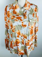 CHICO'S WOMENS BUTTON UP  FRONT POCKETS FLORAL LIGHT JACKET 3 6/5