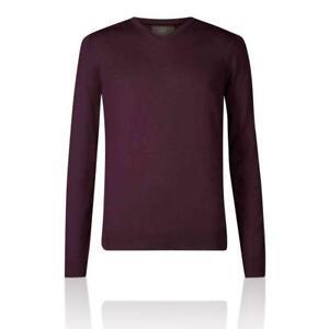 Marks&Spencer T303535M M&S Plum Extra Fine Merino Wool V Neck Jumper £35