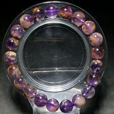 9.2mm Natural Brazil Amethyst Ghost Quartz Crystal Beads Stretch Bracelet