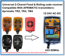 APRIMATIC Compatible Universal 2-Channel receiver 12-24V AC/DC 433.92MHz.