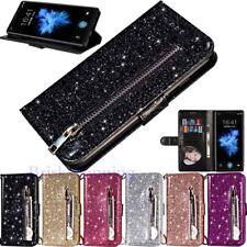 Glitter Leather Zipper Wallet Case Cover for Samsung S9 S8 S7 J3 J4 J6 J7 Note 9