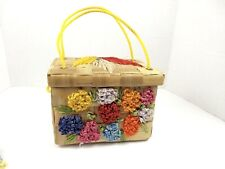 Vintage Straw Purse Handbag Woven Raffia Floral Box Natural Beach Summer