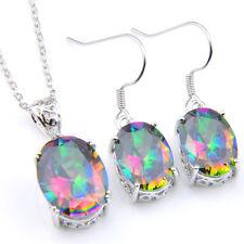 Oval Shaped 2 Pcs 1 Lot Natural Rainbow Fire Topaz Silver Earrings Pendants Set