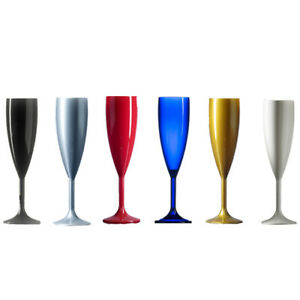 Elite Polycarbonate Plastic Champagne Flutes - Muti Coloured pack - Made in UK