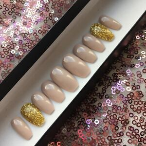 Hand Painted False Nails Short Nude & Gold Glitter Coffin Full Cover Press On