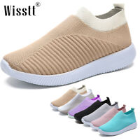 Womens Casual Sock Mesh Shoes Trainers Flat Slip On Comfy Gym Pumps Sneakers New