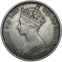 1856 GOTHIC FLORIN - VICTORIA BRITISH SILVER COIN - NICE