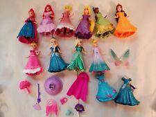 Lot 10  Disney Princess Magiclip Magic Clip Polly Pocket Dolls with dresses