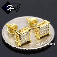 MEN WOMEN 925 STERLING SILVER 6MM LAB DIAMOND SCREW BACK GOLD STUD EARRING*GE135