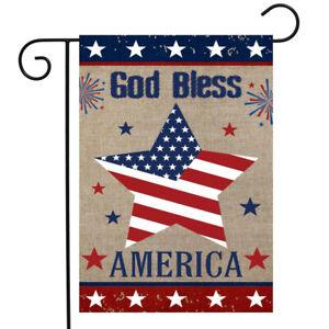 "God Bless America Star Burlap Garden Flag Patriotic 12.5"" x 18"" Briarwood Lane"