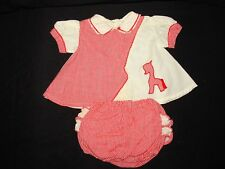 Vintage Girls 2 pc Red checked Pony Horse Diaper Cover Plastic Ruffles Sz 12 mo