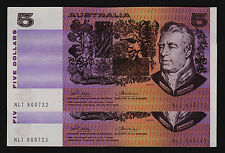 5 Dollars Australian Banknote 1974 Phillips / Wheeler R205 gEF consecutive pair