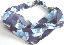 NEW Navy blue floral print fabric link detail headband bandeaux womens girls