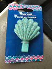 Little Mermaid Hair Clip Sparkle Metallic Silver Teal Seashell Barrette Swim New