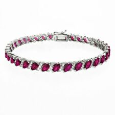 Oval-cut 6X4mm Created Pink Topaz Tennis Bracelet in White Gold Plated