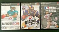Sony Playstation 2 (PS2) Sports Video Game Bundle - Lot of 3 (NFL & MLB)