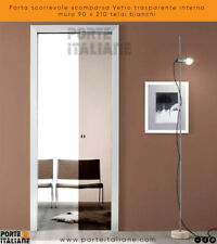 Porta scorrevole scomparsa Vetro trasparente interno muro 90 x 210 telai bianchi