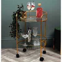 Luxury 2 Tier Round Drinks Trolley, Gold Effect frame glass Shelves