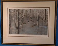 """Maynard Reece """"Oaks Duck Landing into Flooded Timber"""" Signed LE Lithograph"""