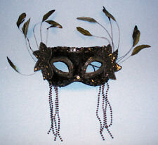 Ojos Negros Mascarilla-Masquerade Ball-Fancy Dress-La Mejor Calidad-Nuevo